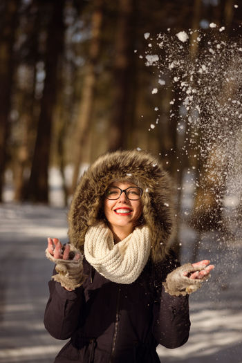 Adult Adults Only Beautiful Woman Cheerful Cold Temperature Day Fun Happiness Human Body Part Nature One Person One Woman Only One Young Woman Only Only Women Outdoors Portrait Real People Smiling Snow Standing Warm Clothing Winter Women Young Adult Young Women