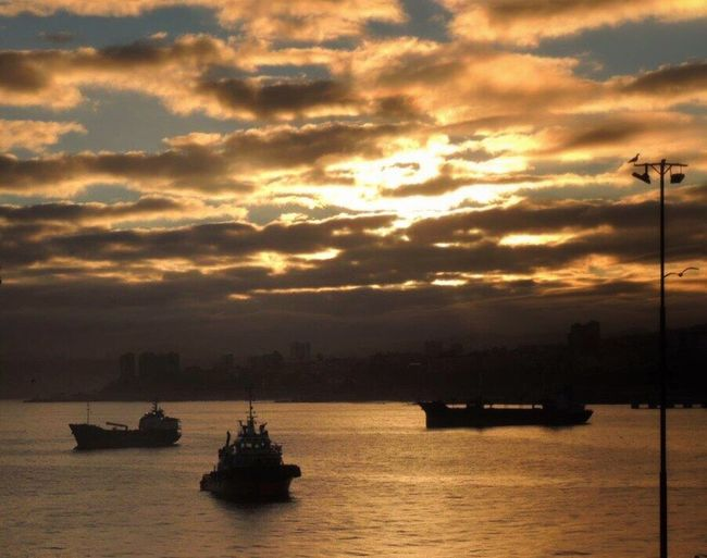 Good Morning Golden Sunrise Morning Sky Golden Clouds Sky And Clouds Sun Through The Clouds Sun Reflection On Water Silouette & Sky Ships At Sea Bay Of Valparaiso From My Office Window