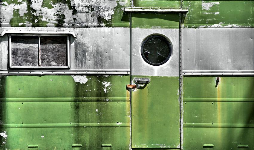 Full Frame Shot Of Abandoned Travel Trailer