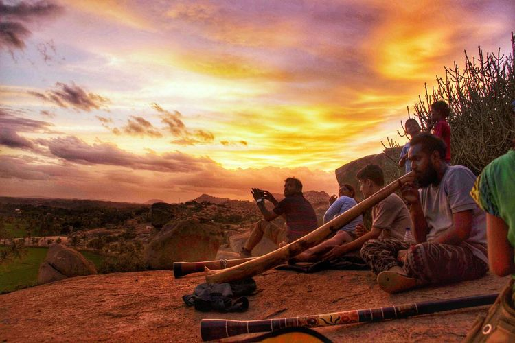 didgeridoo times Didgeridoo Music Evening Hampi  Practicing Music Divine Sunset Tree Sky Landscape Farmland