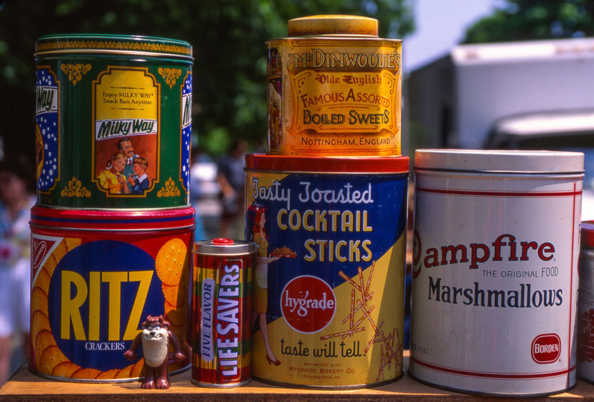 """AT the Pennsylvania """"flea"""" market Antique Choice Close-up Communication Consumerism Container Day Focus On Foreground Food And Drink For Sale Information Metal Container Multiple Cans No People Non-western Script Red Retail  Script Sign Text Variation Western Script"""