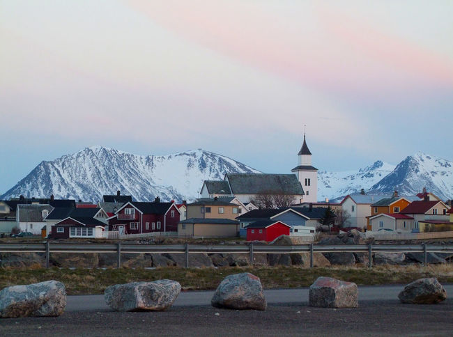 Norway cities Buildings Church City View  Mountains North Norway Rocks Small Town Street