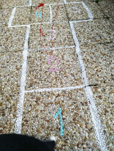 High Angle View Full Frame Close-up Hopscotch Game Marking Chalk - Art Equipment LINE Drawn Textured  Chalk Drawing Stone Tile
