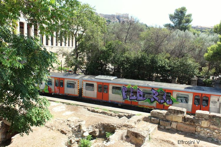 Train. Acropolis, Athens Arcade Architecture Attalos Building Day Gallery Graffiti Art Historical Building No People Old Sky Street Train Trees