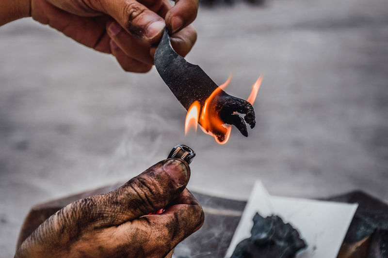 Igniting Burning Finger Fire Flame Focus On Foreground Glowing Hand Heat - Temperature Holding Human Body Part Human Hand Lifestyles Matchstick Men One Person Outdoors