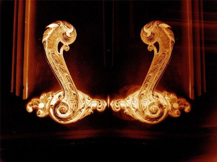 Close-up of illuminated door knocker