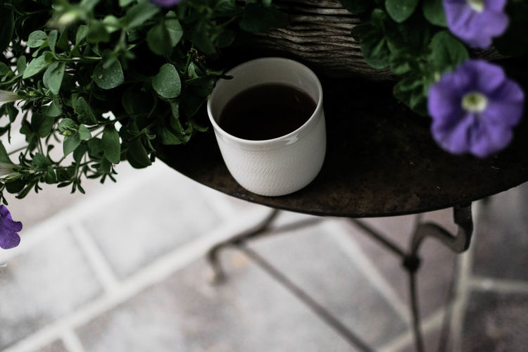 High Angle View Of Coffee Cup By Plant On Table