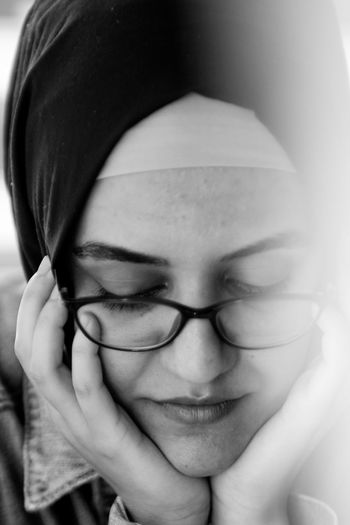 One of the subtle signs of our bond is my wife always wearing my clothes. Canon Canon60d Jupiter Black & White Jeans Samsun Turkey Turkeyphotooftheday Azerbaijan Hijabstyle  Hijabfashion Hijabbeauty Muslimah The Minimalist - 2019 EyeEm Awards Minimalism Young Women Portrait Eyeglasses  Human Face Headshot Front View Eyes Closed  Human Eye Women Close-up Hijab Headscarf Religious Dress Womenswear Islam
