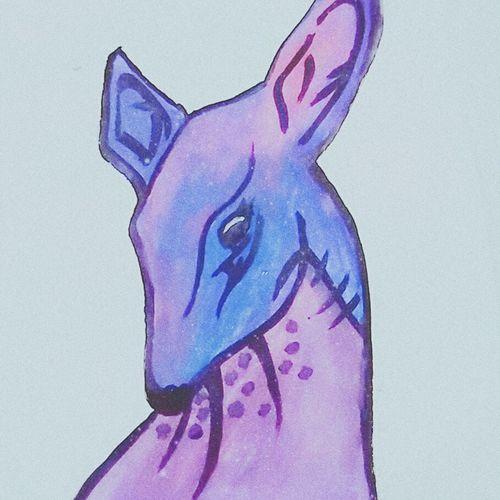 Art Animal Deer Paintings Headshot