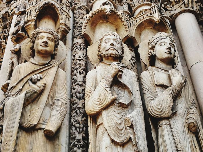 Cathedral Chartres, France Chartres Cathedral Entrance Gotic Architecture Christianity Christian Architecture EyeEm Selects Backgrounds Full Frame Sculpture Statue Human Representation Close-up Carving Carving - Craft Product Art And Craft Male Likeness Place Of Worship Jesus Christ Sculpted Art Bas Relief Idol ArtWork Female Likeness