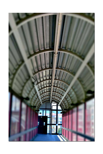 Train Station Catwalk 2 Jack London Square Port Of Oakland, Ca. Railroad Overpass Tracks Catwalk Over Tracks Union Pacific Railroad Distorted View Pattern Pieces Arches Geometric Patterns Distortion
