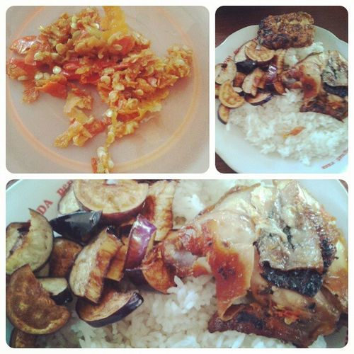 Endeuss ayam bakar+tempe bakar+terong+sambel bawang Food Indonesiafood Nyummy Foodpict hot spicy