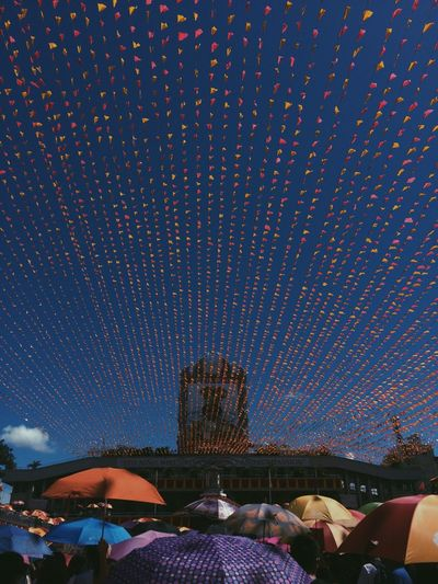 Low angle view of bunting flag during sinulog-santo nino festival