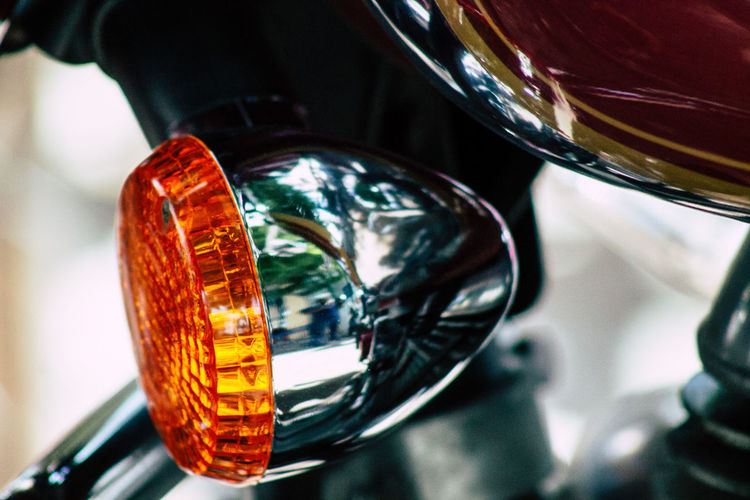 Close-up of motorcycle tail light