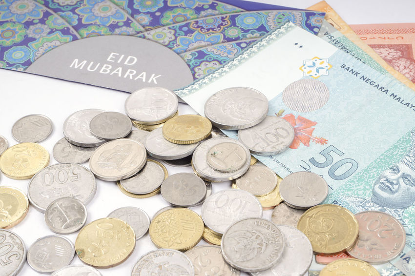 EID MUBARAK MONEY PACKET ISOLATED ON WHITE Celebration Eid Mubarak Angpow Close-up Coin Coins Currency Finance Money Pack Money Packet No People Saving Money Savings