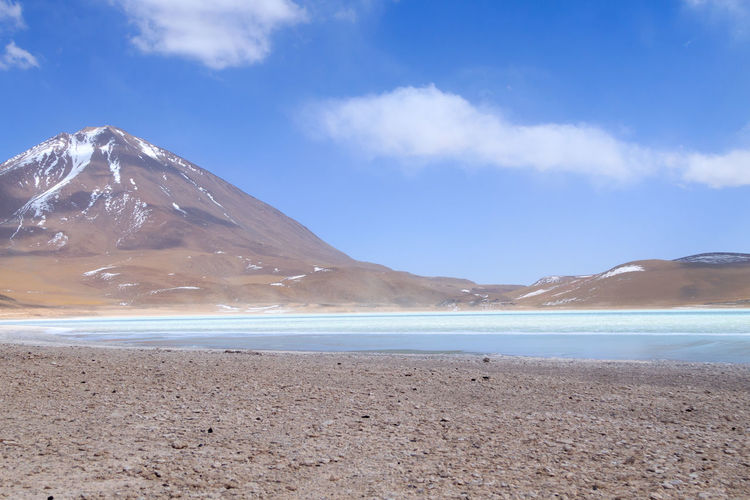 Laguna verde landscape, Bolivia Scenics - Nature Water Sky Beauty In Nature Land Tranquil Scene Cloud - Sky Tranquility Day Nature Mountain Non-urban Scene Salt Flat Sea Idyllic Beach No People Bolivia Bolivian BOLIVIA ❤ Laguna Verde Lagoon Lagoon Water Landscape_Collection Travel