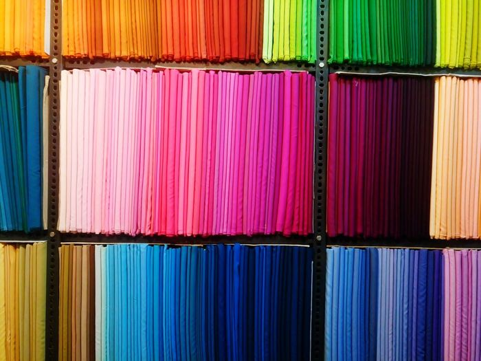 Full Frame Image Of Colorful Textiles At Rack