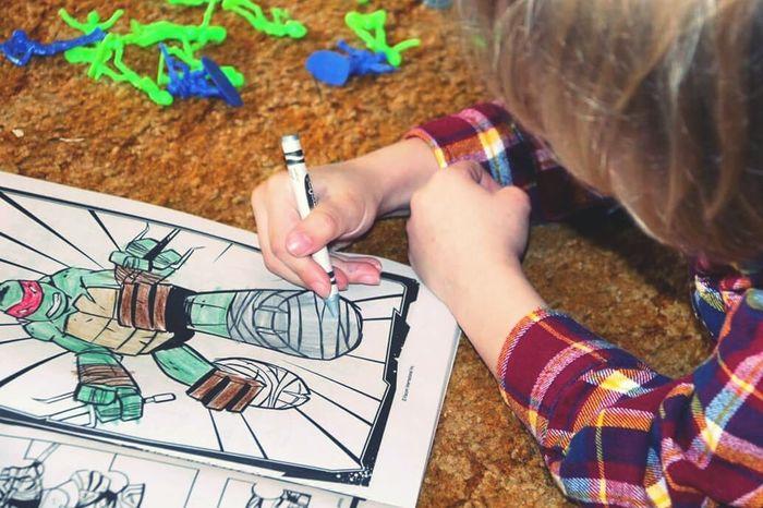 A boy's life. TMNT🐢 Coloring Boy Enjoying Life Art Five Years Old Army Men Toys Drawing Adventure Buddies