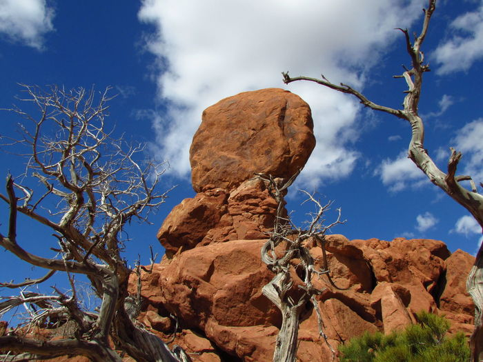 Balanced Rock Beauty In Nature Blue Sky Cloud - Sky Cloudy EyeEm EyeEm Nature Lover Harmony With Nature Landscpe Leading Lines Moab, Utah Natural Picture Nature Outdoors Plant Rock - Object Rock Formation Rock Formation Sky Textures And Surfaces Wide Angle Wide Open Spaces