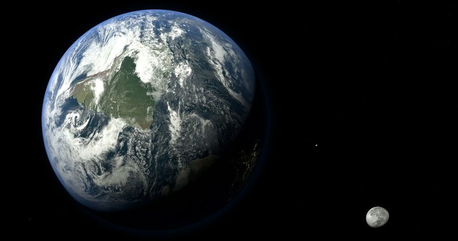 Planet Earth Moon Atmosphere Globe 4K Satellite View City Lights Earth From Space Earth From Above Planets Satellite