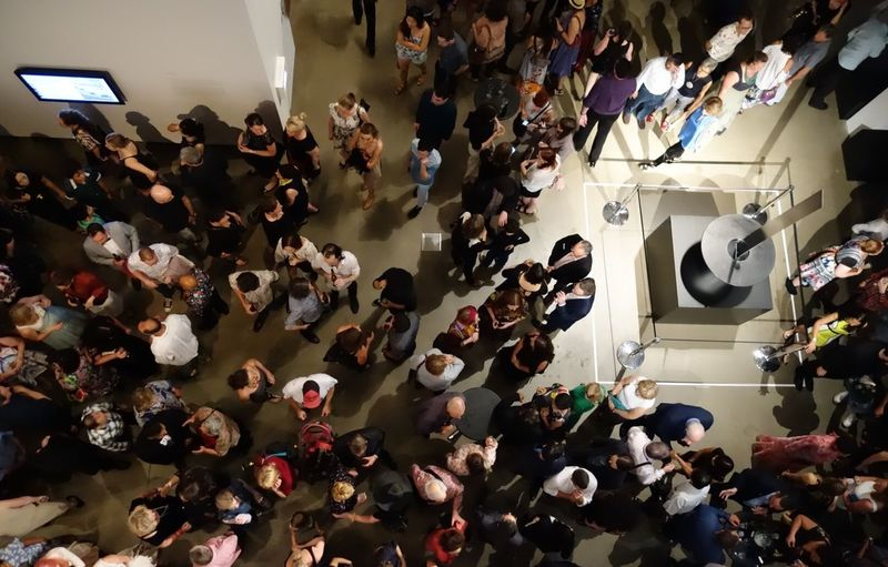 Crowd for Asia Pacific Triennial Of Contemporary Art Exhibition ( APT8 ) at Gallery Of Modern Art Queensland Art Gallery Qagoma in Brisbane Queensland