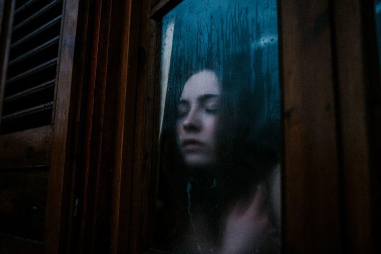 Close-up Closed Eyes Dark Dark Wood Darkest Hours Emotion Fog Fogged Horror Looking Through Window Moody Rain Scary The Portraitist - 2017 EyeEm Awards Window The Week On EyeEm Editor's Picks International Women's Day 2019
