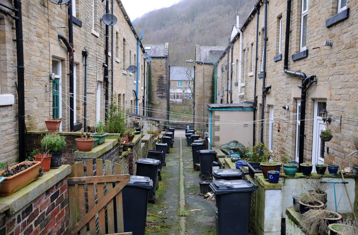back to back terraced houses in hebden bridge west yorkshire Hebden Bridge Houses Alley Architecture Building Exterior Built Structure Day No People Outdoors Street Terraced Houses