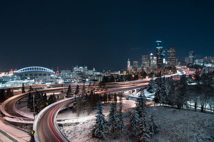 Very unique view of downtown seattle midwinter with a fresh coat of snow