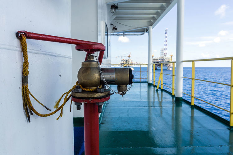 fire fighting Fire Fighting Equipment Pipe Piping Corridor Handrail  Sea Ocean Oil And Gas Industry Oilfield Offshore Platform Barge Accommodation Work Water Sea City Nautical Vessel Hanging Beach Accidents And Disasters Sky Fire Hydrant Emergencies And Disasters Valve