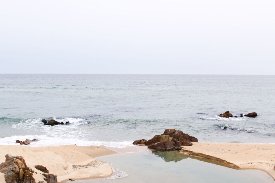 sea view #rocks Beach Beauty In Nature Day Horizon Over Water Nature Outdoors Rock - Object Scenics Sea Sky Water Wave Jeongdongjin Gangneung