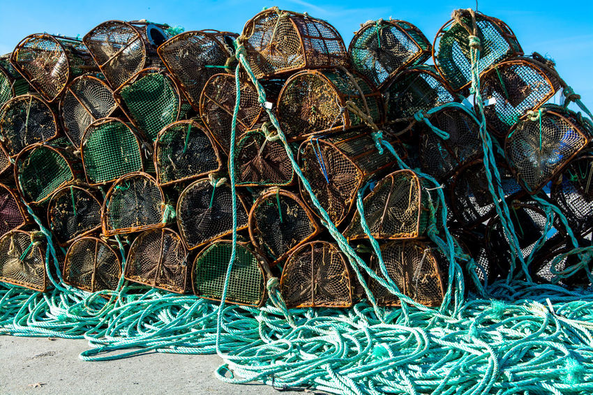 Backgrounds Close-up Day Design Detail Docklands Fishing Fishing Pot Fishing Tools Fishing Village Green Color Grounded Harbour Lined Lines No People Outdoors Pots Ropes Sky Stored Tools Tranquility TakeoverContrast The Street Photographer - 2017 EyeEm Awards