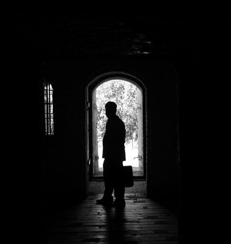 Briefcase man Black & White Blackandwhite Photography Dark Doorway Helsinki,finland Light At The End Of Tunnel Man Silhouette