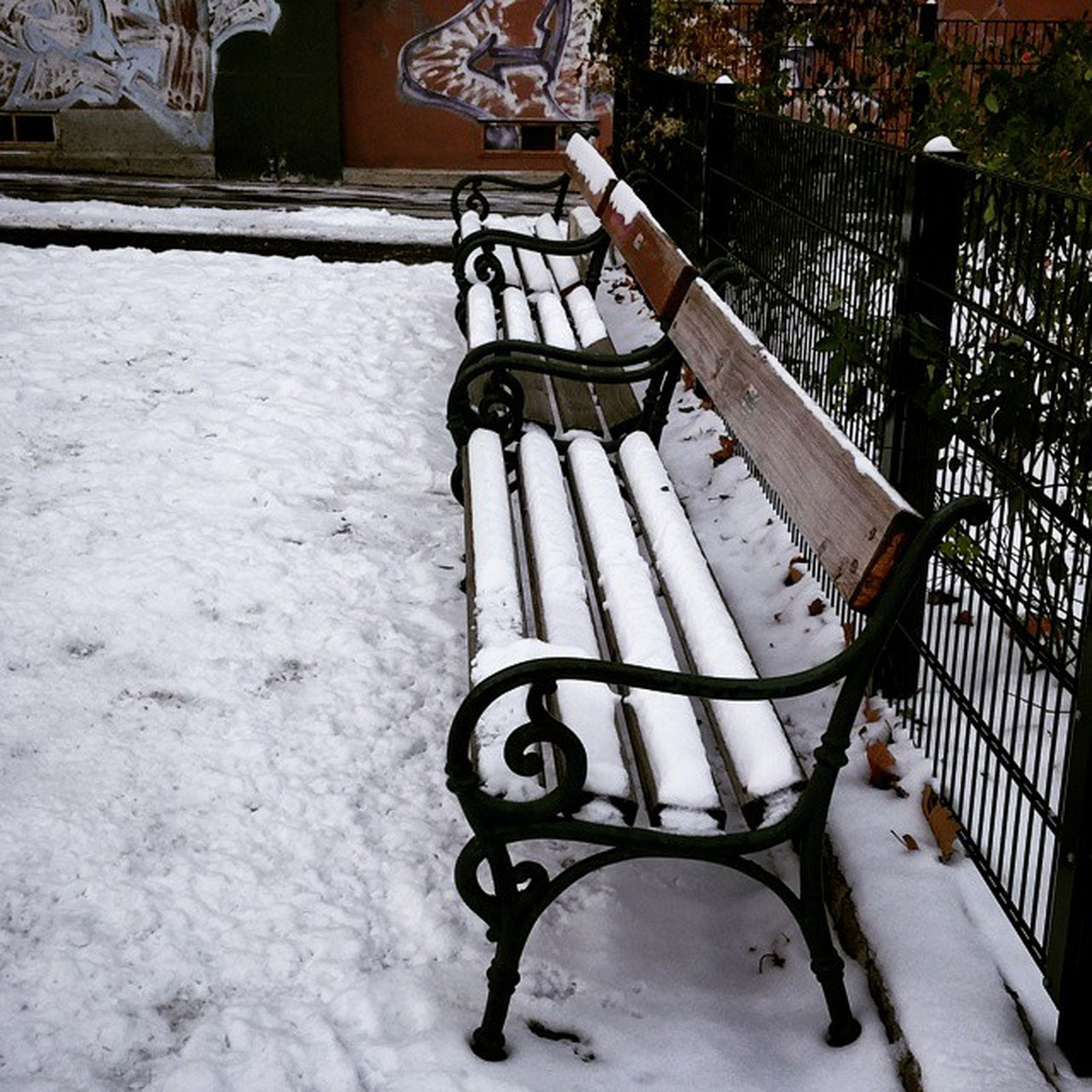 snow, winter, cold temperature, season, built structure, building exterior, architecture, weather, railing, covering, metal, day, fence, house, outdoors, white color, bare tree, absence, bench, no people