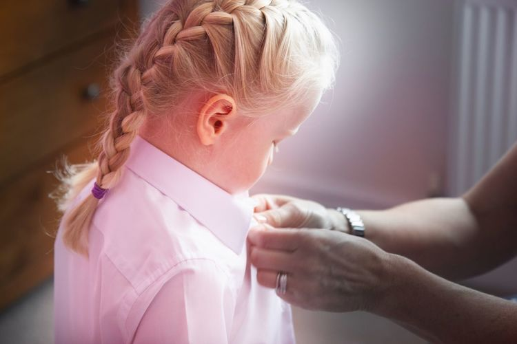 First day at school First Day At School Childhood Child Offspring Girls Females Women Blond Hair