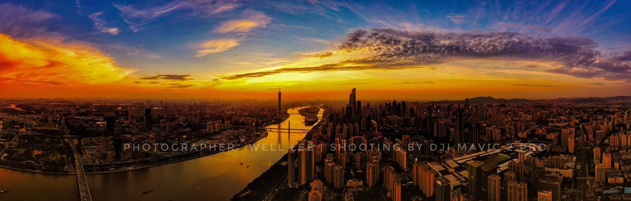 Sunset in Guangzhou Guangzhou Architecture City Built Structure Building Exterior Cityscape Building Sky Sunset Cloud - Sky High Angle View Aerial View Skyscraper Landscape