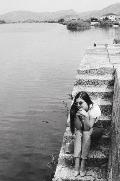 Analogue Photography women around the world Waiting Travel Destinations Croatia Black And White Blackandwhite Retro Styled Model Shooting Girl Retro Real People Lifestyles Water One Person Day Beach Portrait Leisure Activity Nature Women Land Headshot Young Women Outdoors Looking At Camera Sunlight Front View Sea