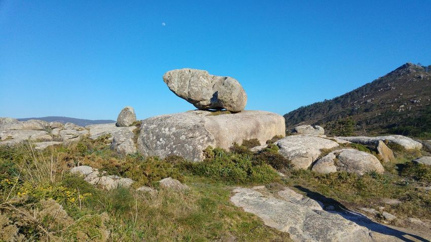 Rock - Object Nature Horizon Over Water Galicia, Spain Tranquility Liquen Pebble Pebble Beach Landscape Blue Sculpture Clear Sky Sky Beauty In Nature Scenics No People Day Sunlight Outdoors