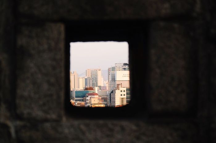 Through the Wall Architecture Building Exterior City Seoul, Korea Seoul City Wall Framed Wall View Through The Wall