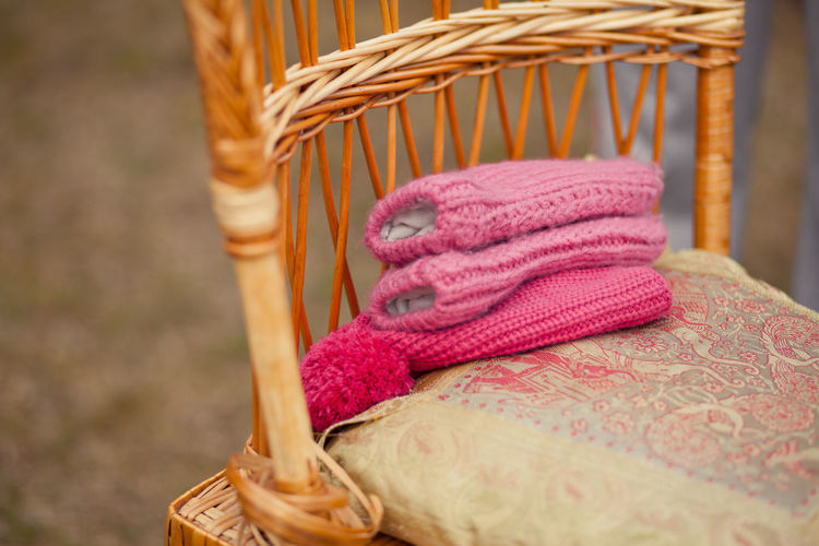Close-up of knitted wool on chair