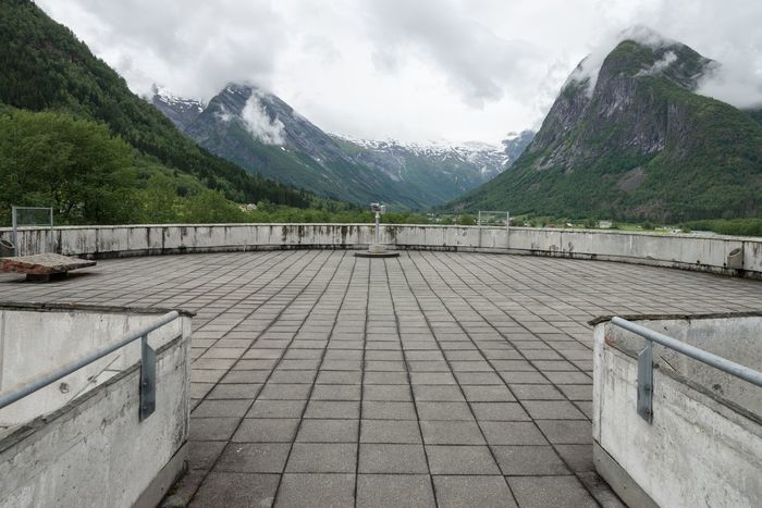 Leading Lines Mountains Cloudy Cloudy Day Viewing Platform Observation Deck Outdoors Landscape Concrete Tiles Concrete Mountain Mountain Range Cloud - Sky Overcast Empty Nature Beauty In Nature Norway Holiday The Way Forward Day Architecture Built Structure Summer