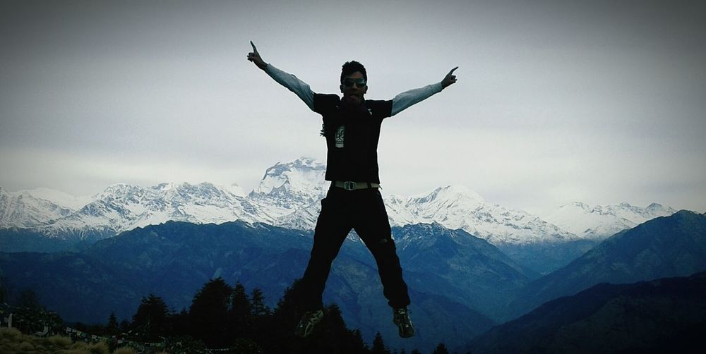 Excitement Jump! Mountains Hills Nepal
