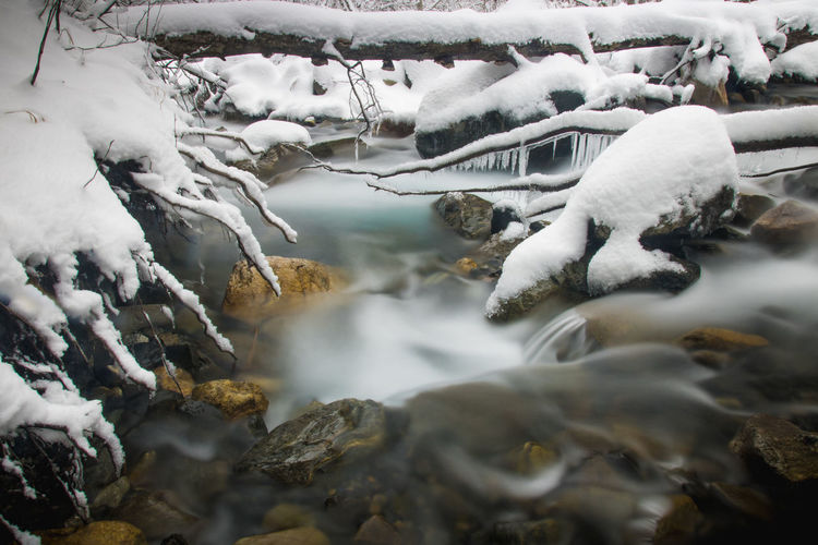 Stream flowing through snow covered land