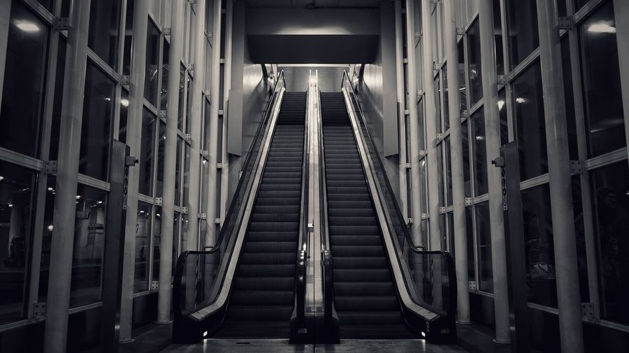 View of escalator in train station