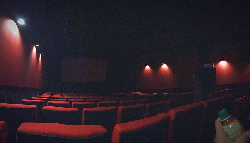 """""""Cinema is a world of imagination"""" - Marjane Satrapi Cinema Film Industry Auditorium Projection Screen Stage Light Lighting Equipment Illuminated Seat No People Indoors  (null)Night Cinematography IPhoneography Eyeemphotography"""