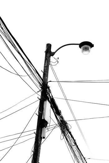 Cable Clear Sky Connection Connection And Communication Electrical Equipment Electricity  Electricity  Electricity Pylon Fuel And Power Generation No People Outdoors Pole Power Line  Power Line  Power Supply Technology Telephone Line