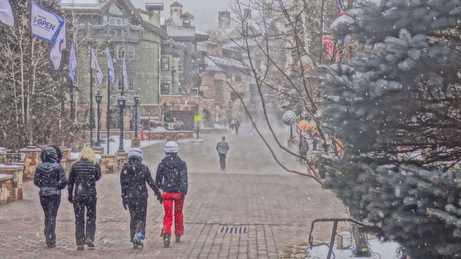 Architecture Cold Temperature Day Leisure Activity Lifestyles Outdoors Real People Rear View Snow ❄ Snowing Vail Colorado Vail,co Warm Clothing Winter Women