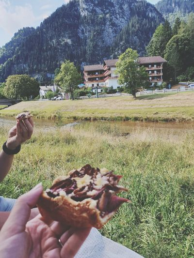 Cake Zwetschgenkuchen Breakfast With A View Mountain Human Hand Holding Tree Men Sky Close-up Sweet Food Food And Drink