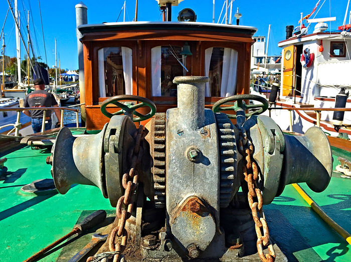 Blue Boat Chain Day Equipment Machinery Marina Mode Of Transport No People Old Outdoors Part Of Rusty Sky Stationary Sunlight Windlass