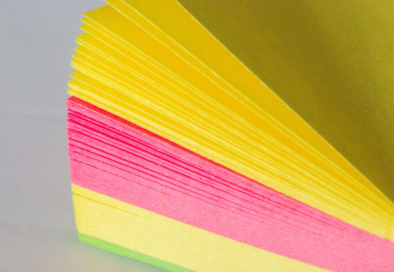 Close-up Colours Fanned Fanned Out Green Layers Multi Colored No People Paper Pink Post Its Stationery Sticky Notes Variation Vibrant Colours White Background Yellow