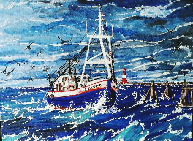 Acrylic Painting Acrylic Art, Drawing, Creativity Art By Me Fishing Boat My Art, My Soul... My Hobby :) ArtWork Art Gallery Art